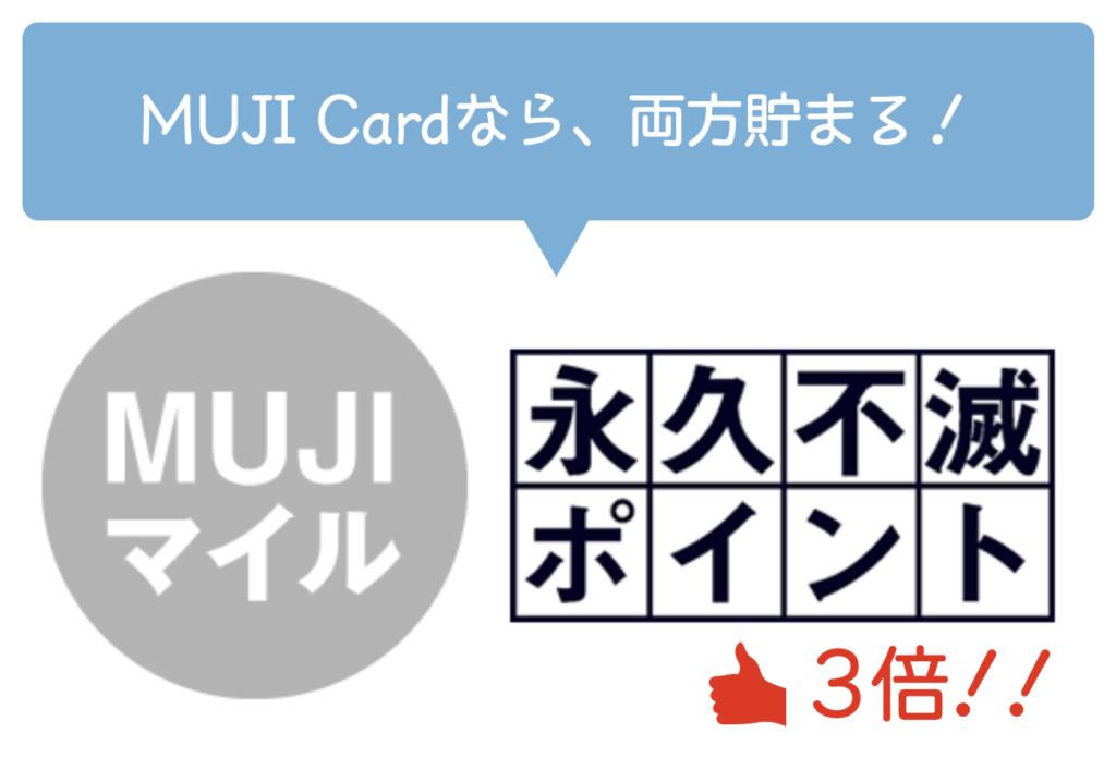 MUJI CardはMUJIマイルと永久不滅ポイントが貯まる!永久不滅ポイントは3倍貯まる!