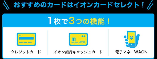 イオンカードセレクトはクレジットカード、キャッシュカード、WAONの三位一体